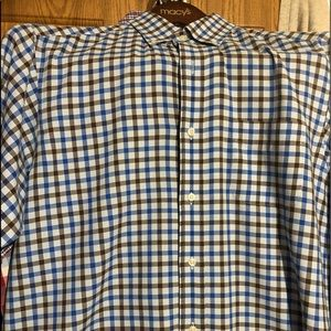 Blue, brown and white striped button down